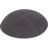 Charcoal Grey Suede Kippah - Solid