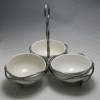 Sectional Porcelain China Bowls - Pewter-Wired Dish - With 3 Sections