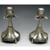 Modern Pewter Candlesticks - 7 Inches Tall
