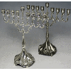Traditional Pewter or Silver-Plated Menorah with Stem - 1937