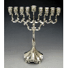 Traditional Silver-Plated Menorah with Stem - 1937