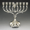 Ornate Silver-Plated Menorah with Stem - 883