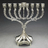 Ornate Silver-Plated Menorah with Stem - 426