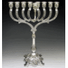 Ornate Silver-Plated Menorah with Stem - 885