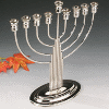Fluted Nickel-Plated Menorah with Stem - 19019