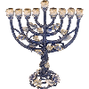 Turquoise and Sapphire Crystals Jeweled Menorah - 6094