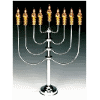 Tall Silverplated-Goldplated Flower Electric Menorah with Flickering Bulbs