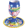 Jerusalem Ceramic Goblet with Coaster - 5903