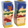 Connected Jerusalem Candlesticks with Hand-Painted Windmill - 5910