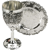 Grape Nickel Small Kiddush Goblet Cup With Stem Leg and Coaster Tray