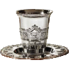 Borei Pri Hagofen Silver-Plated Kiddush Cup Set with Coaster