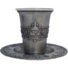 Borei Pri Hagofen Pewter Kiddush Cup Set with Coaster