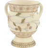 Beige Floral Decorative Polyresin Washing Cup on Stem