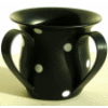Black Unbreakable Washing Cup with White Dots by Ronit Akavia