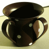 Brown Unbreakable Washing Cup with White Dots by Ronit Akavia