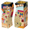 Fitted Connected Jerusalem Wooden Candlesticks Hand-Painted by Yair Emanuel