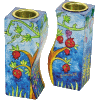 Fitted Connected Pomegranates Candlesticks Hand-Painted by Yair Emanuel