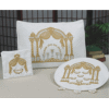 Double-Pillar Arch 3-Piece Pesach White Velvet Seder Set - PSV750W