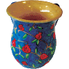 Pomegranate Design Wooden Wash Cup Handpainted by Yair Emanuel