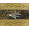 Brown Small Glass Match Box with Hamsa by Lily Art