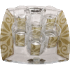 Pearl and Gold Glass Liquor Set with Matching Tray by Lily Art