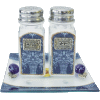 Blue Glass Salt and Pepper Shakers with Matching Tray by Lily Art