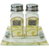 Pearl and Gold Glass Salt and Pepper Shakers with Matching Tray by Lily Art