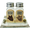 Brown Glass Salt and Pepper Shakers with Matching Tray by Lily Art