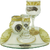 Pearl and Gold Glass Havdalah Set with Matching Tray by Lily Art