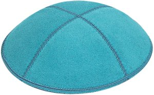 Turquoise Suede Kippah - Solid