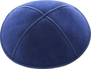 Dark Royal Blue Suede Kippah - Solid