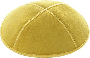Yellow Suede Kippah - Solid