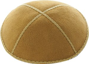 Antique Gold Suede Kippah - Solid