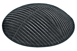 Medium Lines Suede Kippah - Blind Embossed