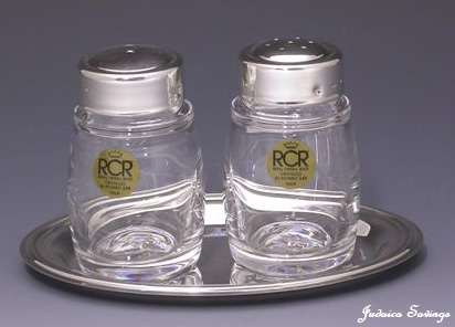 Crystal and Sterling Silver Salt and Pepper Holder