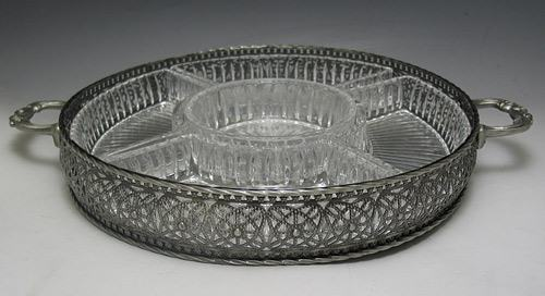 Sectional Pewter-Finish Platter with 5 Sections