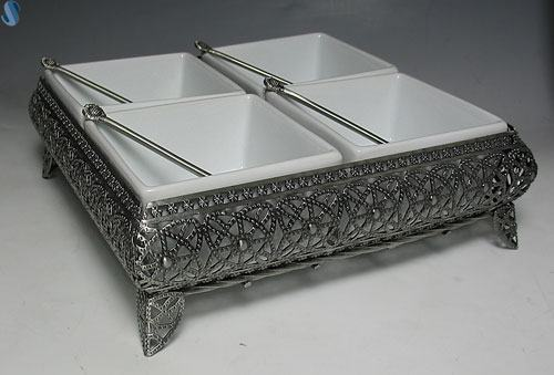 Sectional Porcelain China Square Bowls - Pewter Platter - With 4 Sections