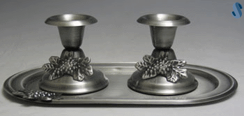 Pewter Candlesticks Set With Tray - Flower Design