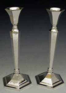 Modern Silver-Plated Candlestick Pair - Style 23216