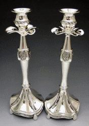Flowers Silver-Plated Candlestick Set - 11 Inches Tall