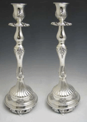 Palm-Tree Silver-Plated Elegant Candlesticks - Over 14 Inches
