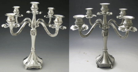 Ribbon Five-Branch Silverplated and Pewter Candelabra - 5-Lite
