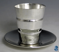 Two-Tone Solid Kiddush Cup with Tray