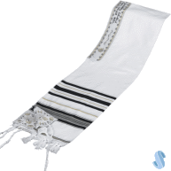 Acrylic Tallit with Black and Gold Stripes