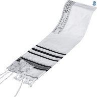 Acrylic Tallit with Black and Silver Stripes