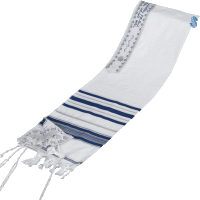 Acrylic Tallit with Blue and Silver Stripes