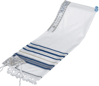 Acrylic Tallit with Blue and Gold Stripes