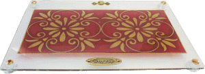 Burgundy Art Challah Tray On Legs by Lily Art