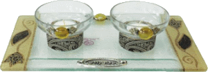 Brown Crystal Tea Light Candlestick Set with Matching Tray by Lily Art