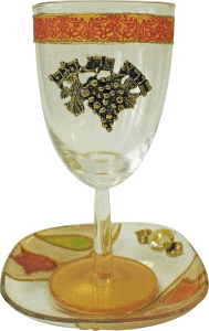 Colorful Glass Kiddush Cup and Matching Coaster with Grapes by Lily Art
